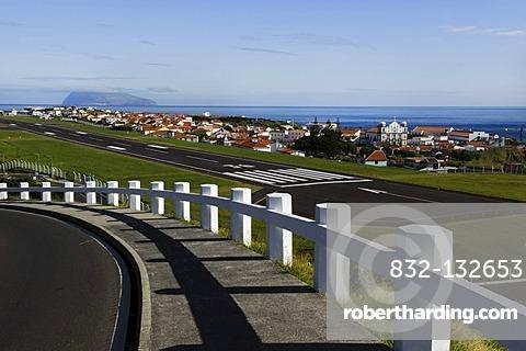 Runway at Santa Cruz on the island of Flores, Azores, Portugal