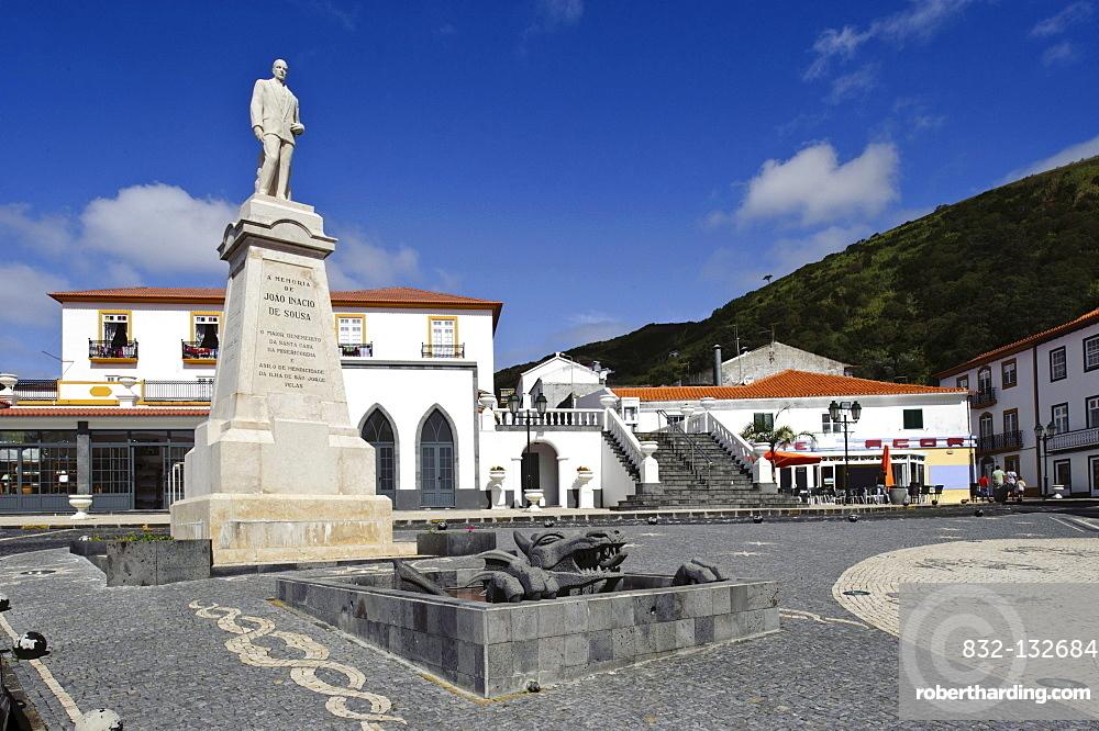 Church square in Velas on Sao Jorge island, Azores, Portugal