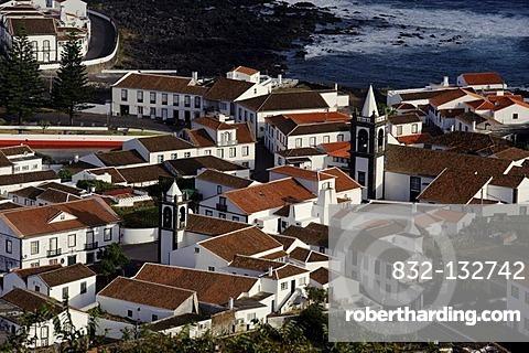 View over Santa Cruz on the island of Graciosa, Azores, Portugal