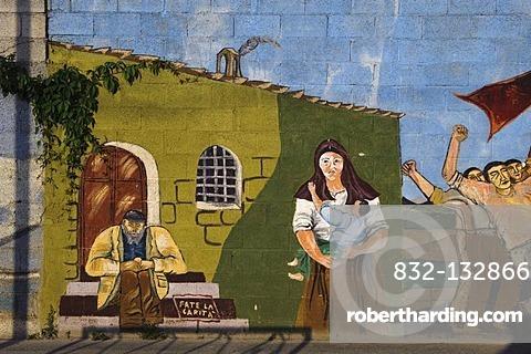 Murals in Villamar, Province of Medio Campidano, Inner Sardinia, Italy, Europe