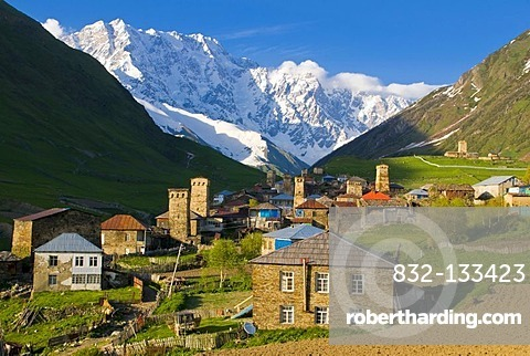 Village of Ushguli, UNESCO World Heritage Site, in front of Shkara Mountain, Svaneti, Caucasus, Georgia, Middle East