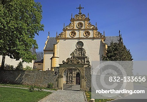 Monastery gate and church entrance of the Pilgrimage Church of Maria im Sand, Dettelbach, Kitzingen district, Lower Franconia, Bavaria, Germany, Europe