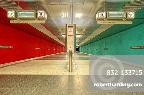 U-Bahn metro station in Munich, Bavaria, Germany, Europe