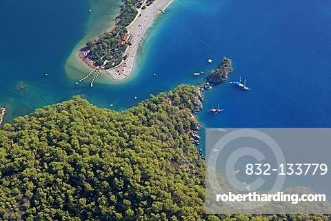 Aerial view, Oeluedeniz Bay near Fethiye, Turkish Aegean, Turkey, Asia