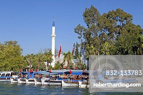 Boats and minaret, Dalyan, Dalyan Delta, Turkish Aegean, Turkey