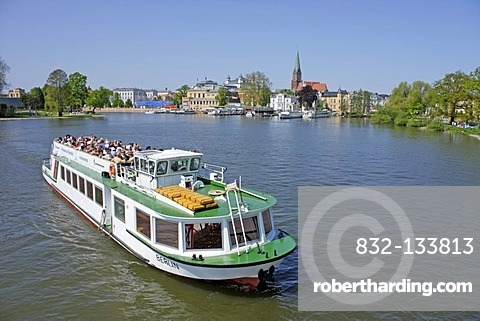 Passenger boat on Lake Schwerin, Schwerin, Mecklenburg-Western Pomerania, Germany, Europe