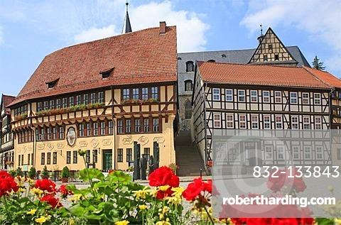 Marketplace, Stolberg, eastern Harz, Saxony-Anhalt, Germany, Europe