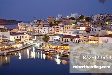 View in the evening on Agios Nikolaos, Crete, Greece, Europe