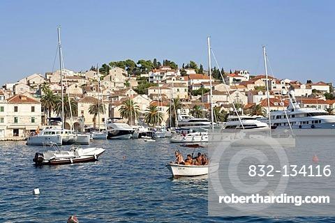 Harbour of Hvar Town, Hvar Island, Central Dalmatia, Adriatic Coast, Croatia, Europe