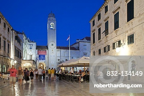 Main boulevard Stradun in the historic town of Dubrovnik, Southern Dalmatia, Adriatic Coast, Croatia, Europe