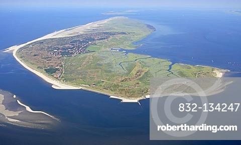 Aerial View, Spiekeroog, East Frisian Island, East Frisia, Lower Saxony, Germany, Europe