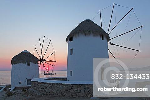 Windmills in Mykonos town, Mykonos island, Cyclades, Aegean Sea, Greece, Europe