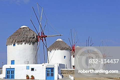 Windmills in Mykonos town, Mykonos island, Cyclades, Aegean Sea, Greece, Europe