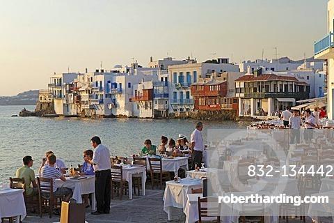 Little Venice, Mykonos town, Mykonos island, Cyclades, Aegean Sea, Greece, Europe