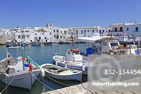 Harbour of Naoussa, Paros island, Cyclades, Aegean Sea, Greece, Europe