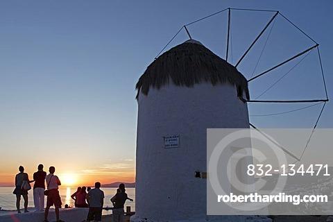 Single windmill, Mykonos town, Mykonos island, Cyclades, Aegean Sea, Greece, Europe