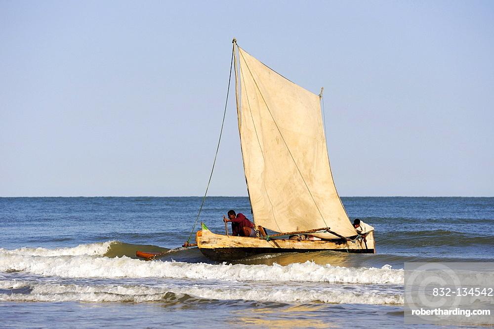 Pirogue off the coast of Morondava, Madagascar, Africa