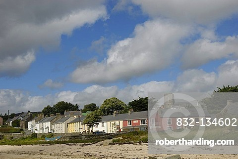 Big shower clouds over an Irish village with row of houses, Rathmullan, County Donegal, Ireland, Europe