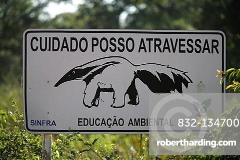 Road sign, giant anteater (Myrmecophaga tridactyla), Transpantaneira road, Pantanal wetland, Brazil, South America