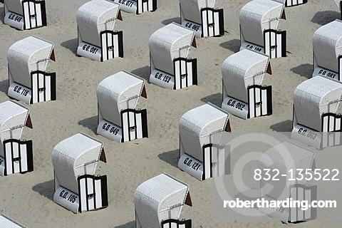 White roofed wicker beach chairs, Sellin, Ruegen, Mecklenburg-Western Pomerania, Germany, Europe