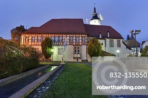 Evening mood, Kurmainzisches Schloss castle, Tauberbischofsheim, Baden-Wuerttemberg, Germany, Europe