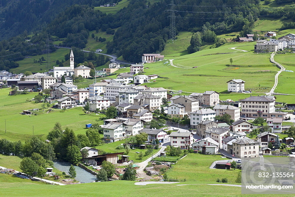 View on the small town of San Carlo out of the train of the Rhaetian Railway, Bernina Express, Engadin, Canton Grisons, Switzerland, Europe
