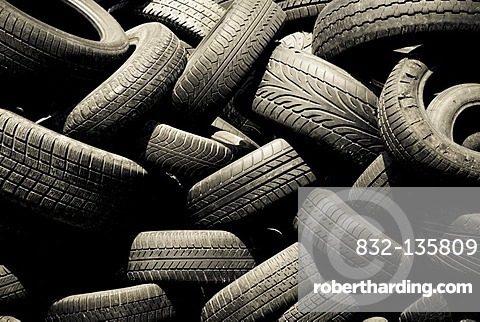 A pile of old tires, recycling