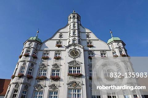 Town hall on the market place, Memmingen, Allgaeu, Bavaria, Germany, Europe