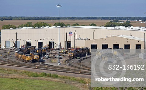 The locomotive repair shop at Union Pacific Railroad's Bailey Yard, the largest rail yard in the world which handles 14, 000 rail cars every day, North Platte, Nebraska, USA