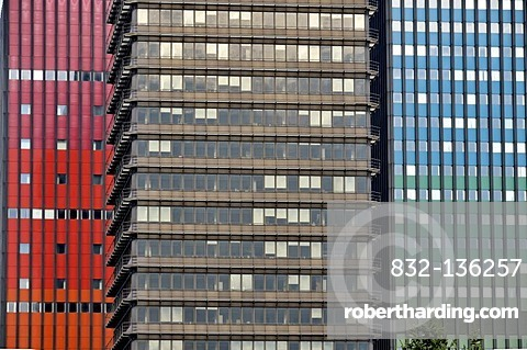 Building of Deutschlandfunk, a Germany radio station, in front of the former headquarters of Deutsche Welle, Germany's international broadcaster, office tower and studio tower, Raderbergguertel, Cologne, North Rhine-Westphalia, Germany, Europe