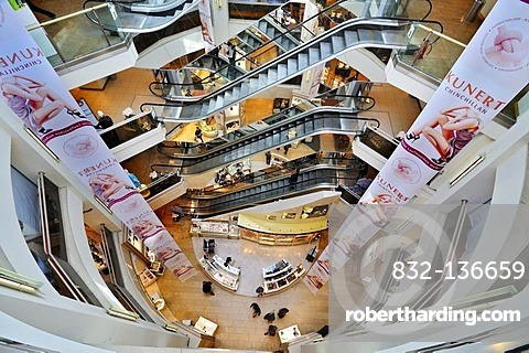Escalators in a department store, Munich, Bavaria, Germany, Europe