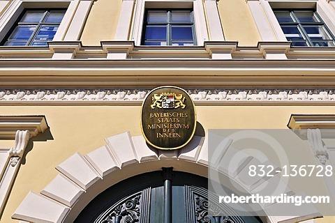 Sign, Bavarian Ministry of the Interior, Odeonsplatz square, Munich, Bavaria, Germany, Europe