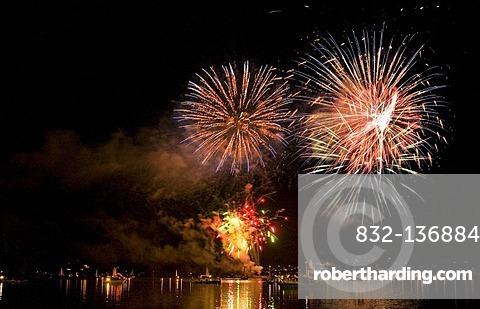 Fireworks in Rottach-Egern, Tegernsee lake, Bavaria, Germany, Europe
