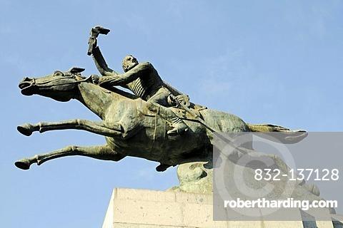 Manuel Rodriguez, monument, sculpture, equestrian statue, Bustamante park, Providencia district, Santiago de Chile, Chile, South America
