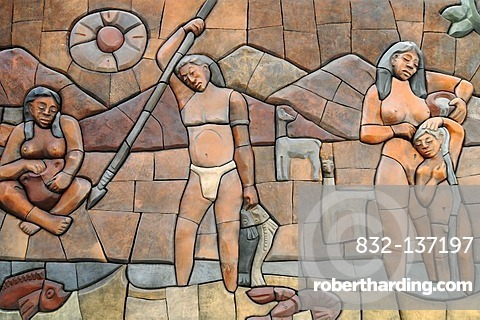 Aboriginal people, indigenous people, mural, Museo Domo museum, cultural center, Coquimbo, La Serena, Norte Chico, northern Chile, Chile, South America