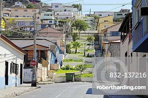 Steep steps, street, city view, Coquimbo, La Serena, Norte Chico, northern Chile, Chile, South America
