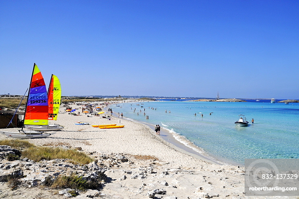 Windsurfing, sailing boats, sails, Platja de Ses Illetes beach, Mediterranean, La Savina, Formentera, Pityuses, Balearic Islands, Spain, Europe