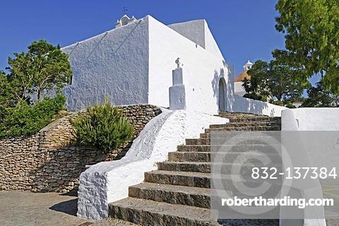 Stairs, church, monastery, Puig de Missa mountain, Santa Eulalia des Riu, Ibiza, Pityuses, Balearic Islands, Spain, Europe