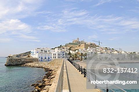 Harbour, cityscape, Catedral Nostra Senyora de las Neus cathedral, Sa Penya, fishing district, Dalt Vila, Unesco World Heritage Site, historic town, Eivissa, Ibiza, Pityuses, Balearic Islands, Spain, Europe