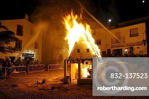 Burning little house, fire, clear, Fiesta de Sant Juan, Joan, festival, traditional event, tradition, custom, Altea, Costa Blanca, Alicante, Spain, Europe