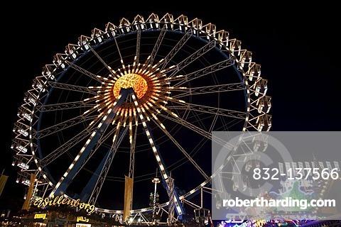 Ferris wheel at night, Oktoberfest Munich, Theresienwiese, Munich, Bavaria, Germany, Europe