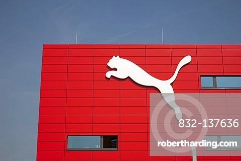 Company logo at the headquarters of the sports goods manufacturer PUMA AG, Herzogenaurach, Bavaria, Germany, Europe