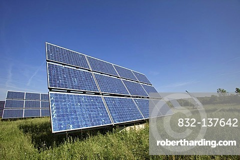 Solar panels mounted on so called Movers, moving in circles around their axes with the movement of the sun, Gut Erlasee Solar Park, Arnstein, Bavaria, Germany, Europe