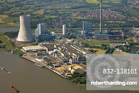 Aerial photo, new power plant, coal power plant of Evonik Steag, Duisburg Walsum, formerly Walsum coal mine, Norske Skog plant, Duisburg, Ruhr Area, North Rhine-Westphalia, Germany, Europe