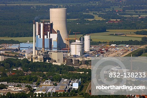 Aerial view, Datteln4 coal power plant of the EON energy corporation, building freeze, Dortmund-Ems canal, Recklinghausen, Ruhrgebiet area, North Rhine-Westphalia, Germany, Europe