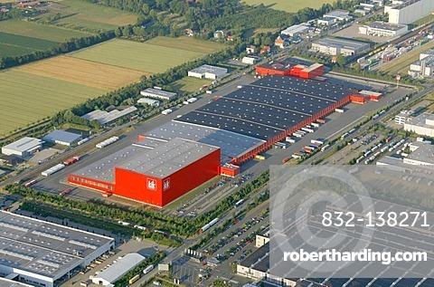 Aerial photo, KIK Discounters, wholesale, commercial zone, Hamm, Ruhr Area, North Rhine-Westphalia, Germany, Europe