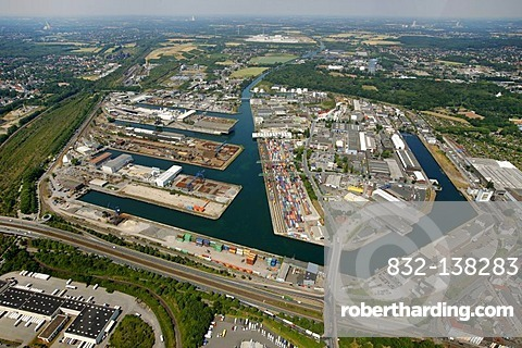 Aerial photo, site of the Envio company, Dortmund Harbour, Dortmund, Ruhr Area, North Rhine-Westphalia, Germany, Europe