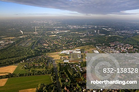 Aerial view, Ostermann furniture store expansion, Gladbeck, Ruhr Area, North Rhine-Westphalia, Germany, Europe