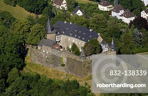 Aerial view, motte, renovated Schloss Hohenlimburg castle, Hagen, Ruhrgebiet area, North Rhine-Westphalia, Germany, Europe