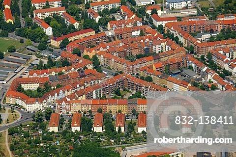 Aerial view, Gutenbergstrasse street housing estate, Erfurt, Thuringia, Germany, Europe